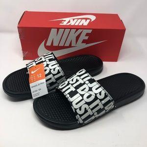 Nike Men's Benassi JDI Print Slides-Black/White